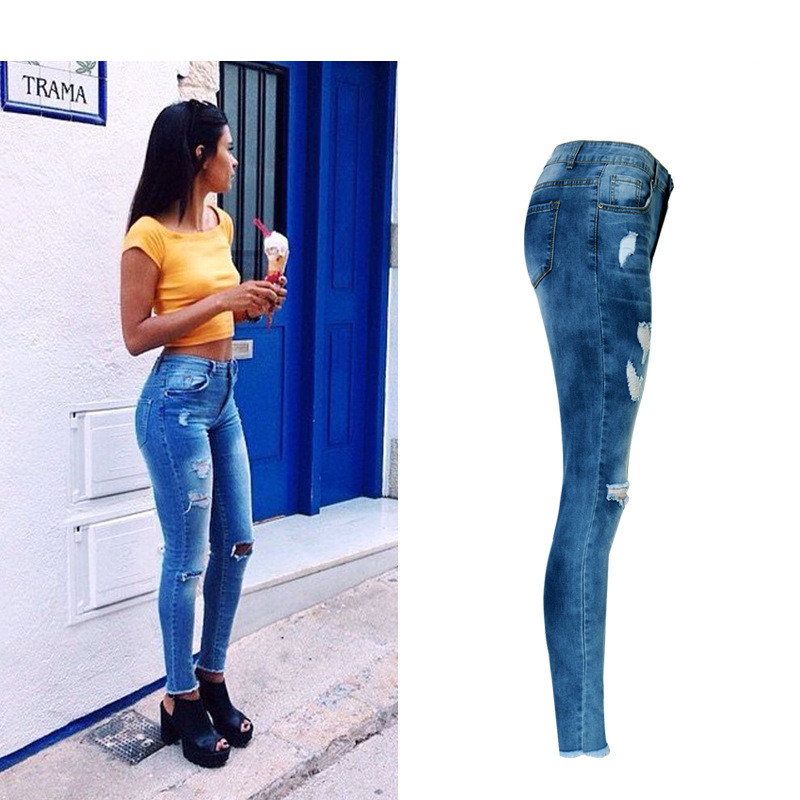 58741099a5 Jeans High Waist Ripped Hole Women Boyfriend Jeans Navy Blue Cotton Skinny  Denim Push Up Bleached Fashion Female Jeans Femme-in Jeans from Women's  Clothing ...