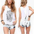 Super White Women Hand Print Vest Tops Loose Sleeveless Tanks Casual