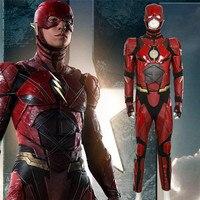 Новый Лига Справедливости flash Косплэй костюм красный кожаный костюм комбинезон супергероя костюмы на Хэллоуин флэш костюм целый набор