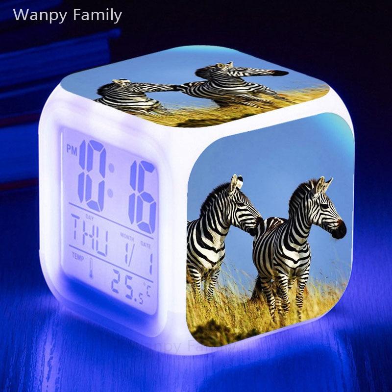 Velmi roztomilé Zebra budíky 7 barev zářící LED elektronické hodinky alarm pro dětský pokoj multifunkční digitální budíky