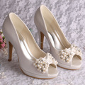 Wedopus High Quality Heels Platform Shoes Pearl Heels Wedding Shoes Ivory Open Toe Dropship