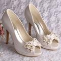 Wedopus High Quality Heels Platform Shoes Pearl Heels Wedding Shoes Ivory Open Toe Dropship