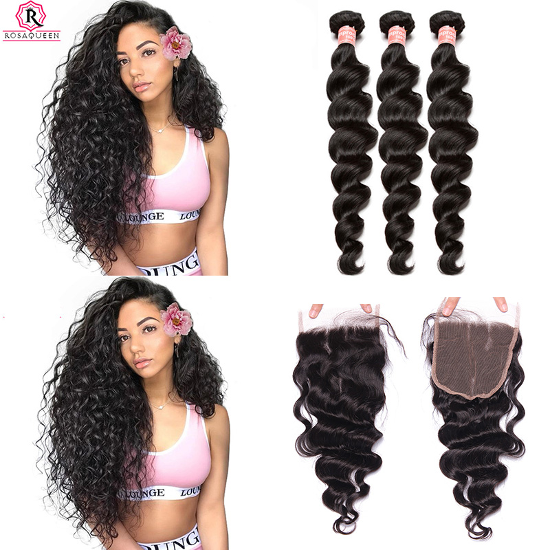 Brazilian Virgin Loose Wave Bundles With Closure 3 Human Hair Weave Bundles With Lace Closure Rosa Queen Hair Products Extension
