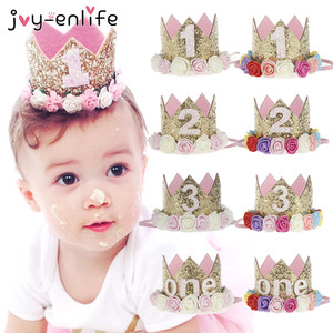 JOY-ENLIFE Flower Crown Newborn Headband Gold Birthday Crown 1 2 3 Year Number Priness Style Birthday Hat Baby Hair Accessory