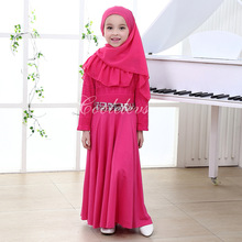 new 2016 muslim full length children's dress djellaba maxi chiffon dubai robe arab traditional clothing kids burqa with hijab