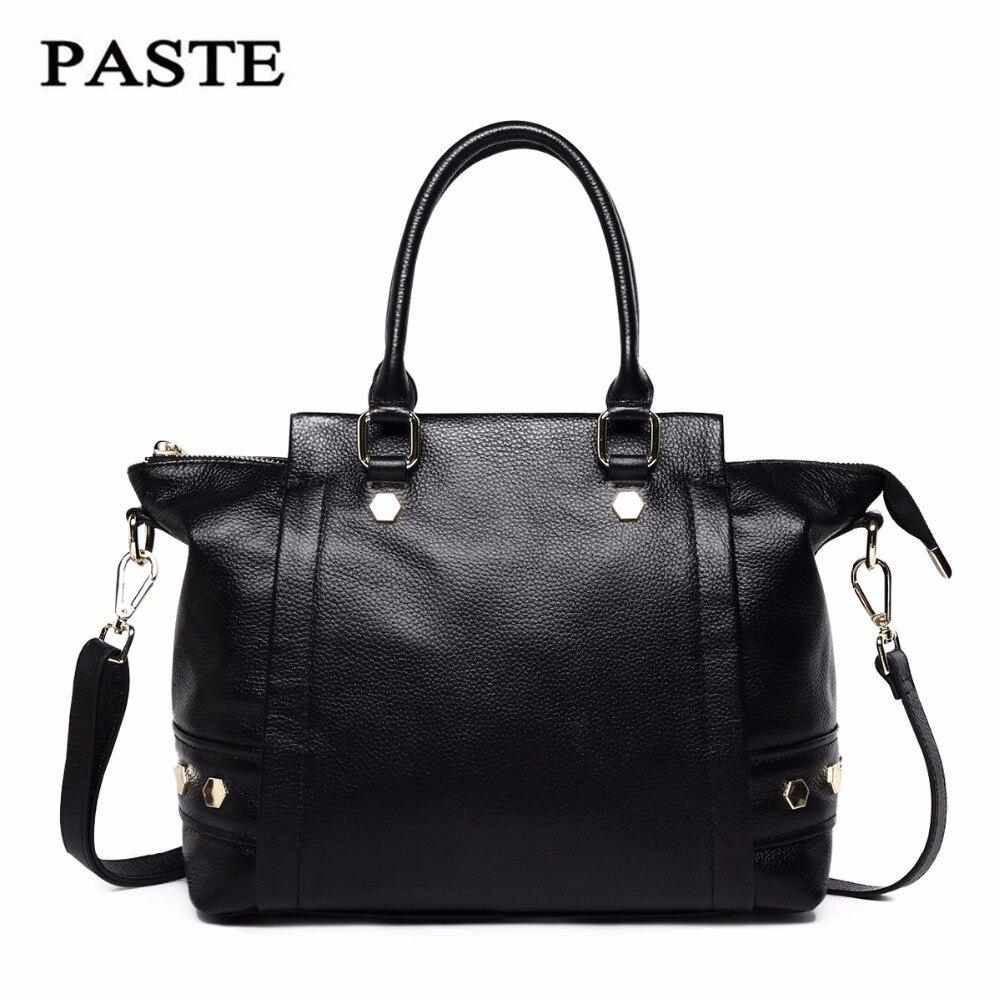 Paste Women Bags Genuine Leather Shoulder Bag Crossbody Messenger Bag Handbags Totes 2018 Satchels Black Brand New Soft P0721