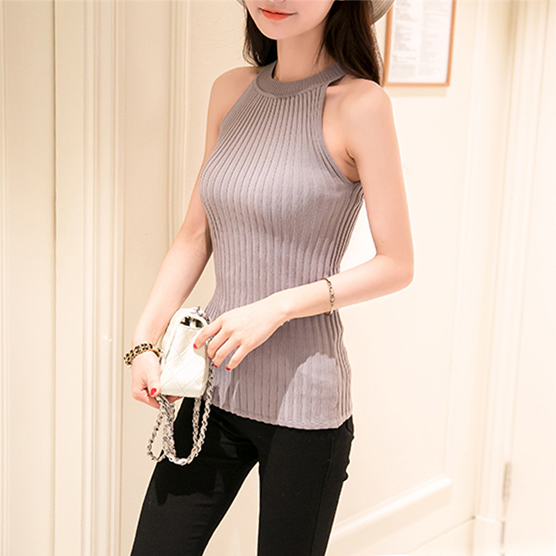 2017 hot sale Women Summer Camisole Knitted Halter Off Shoulder O-neck Vest Slim Tank Tops