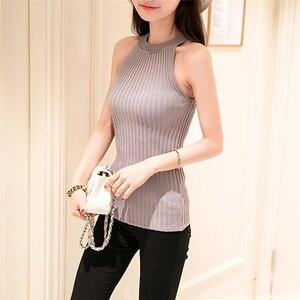Image 1 - 2017 hot sale Women Summer Camisole Knitted Halter Off Shoulder O neck Vest Slim Tank Tops