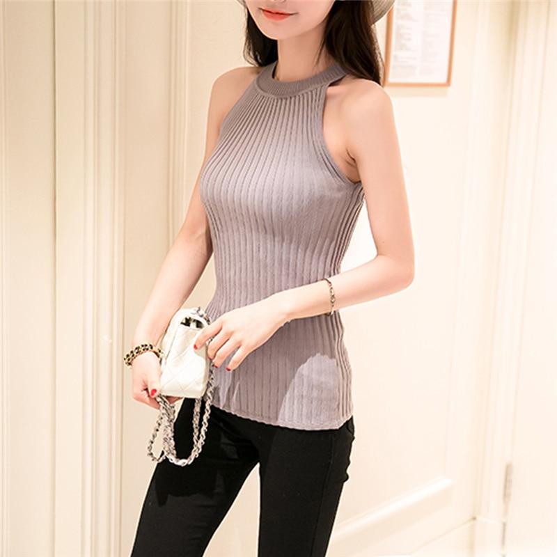 2017 hot sale Women Summer Camisole Knitted Halter Off Shoulder O-neck Vest Slim Tank Tops