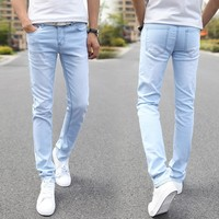 Men Elastic Casual Straight Jeans 2016 New Mid Cowboy Pants Skinny Blue Men Brand Jeans Stretch