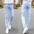 Hombre Diseñador de Moda de Marca Pantalones Vaqueros Rectos Elásticos 2016 Nuevos Hombres Mediados Pantalones Flacos Delgados Hombres Estiran Los Pantalones Vaqueros para Hombre