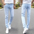 Male Fashion Designer Brand Elastic Straight Jeans 2016 New Men Mid Pants Slim Skinny Men Jeans Stretch Jeans for Man