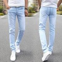 Nam Thiết Kế Thời Trang Hiệu Elastic Jeans Straight 2016 Người Đàn Ông Mới Giữa Quần Slim Skinny Người Đàn Ông Quần Jean Căng Jeans cho Người Đàn Ông