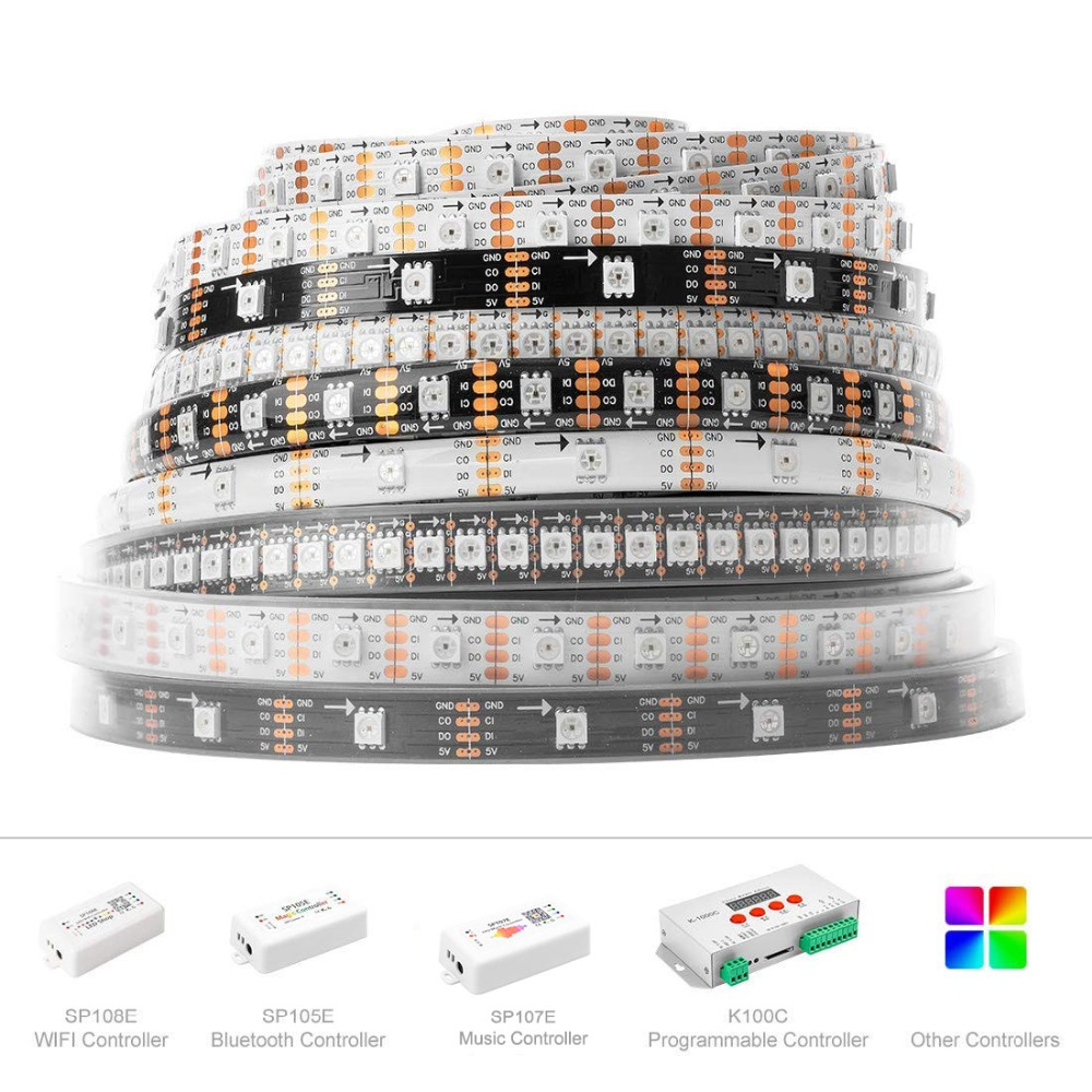 SK9822 (Liknande APA102) Smart RGB Led Pixel Strip 1m / 5m 30/60/144 - LED-belysning - Foto 4