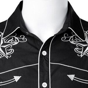 Image 3 - Рубашка мужская с вышивкой, черная, на пуговицах, с длинным рукавом