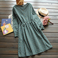 Japonés primavera mujeres casual sweet lindo 3 colores de impresión de la vendimia delgado cordón de la cintura de manga larga dress mori chica kawaii femenino U558