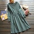 Japonês mulheres primavera casual sweet bonito 3 cores de impressão do vintage lacing cintura fina de manga comprida feminina kawaii dress mori menina U558