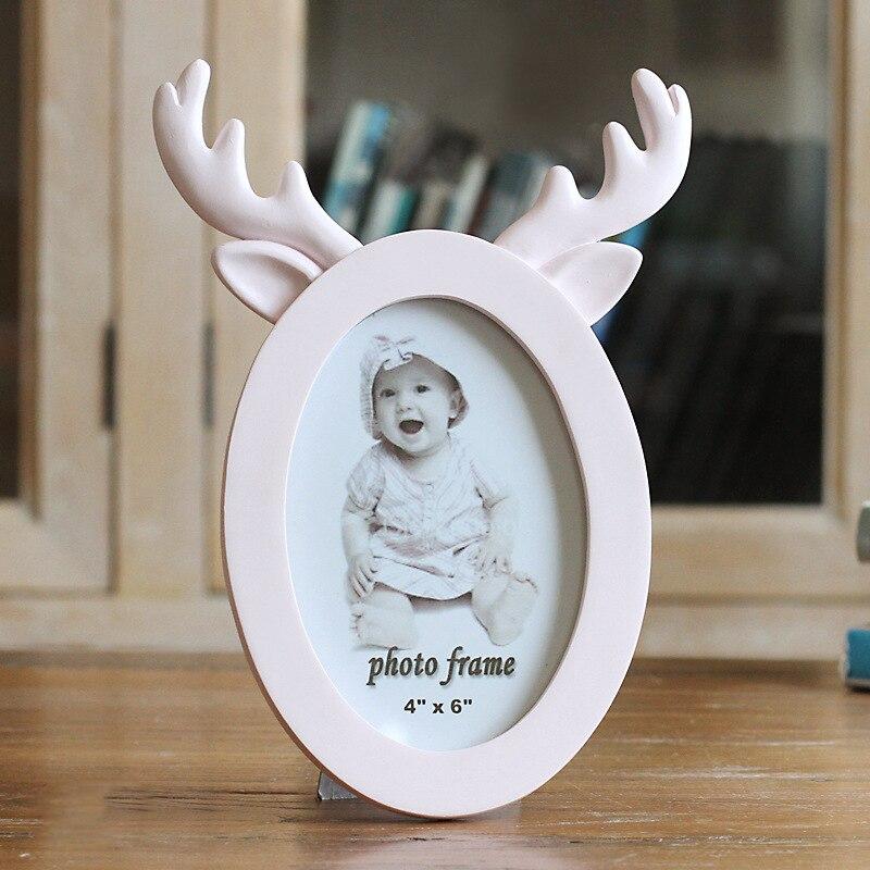 Teder 6 Inch Leuke Cartoon Foto Frames Creatieve Tafel Ornamenten Mooie Baby Kinderen Foto Frames Herten Hoorn Vorm Frames Cadre Foto
