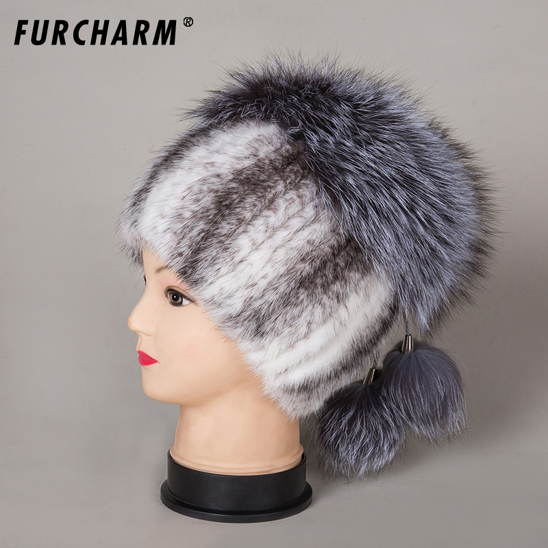 2018 winter caps mink fur hats silver fox fur beanies hat with pom pom Genuine fur cap elastic Knitting wool beanies female cap autumn winter beanie fur hat knitted wool cap with silver fox fur pompom skullies caps ladies knit winter hats for women beanies