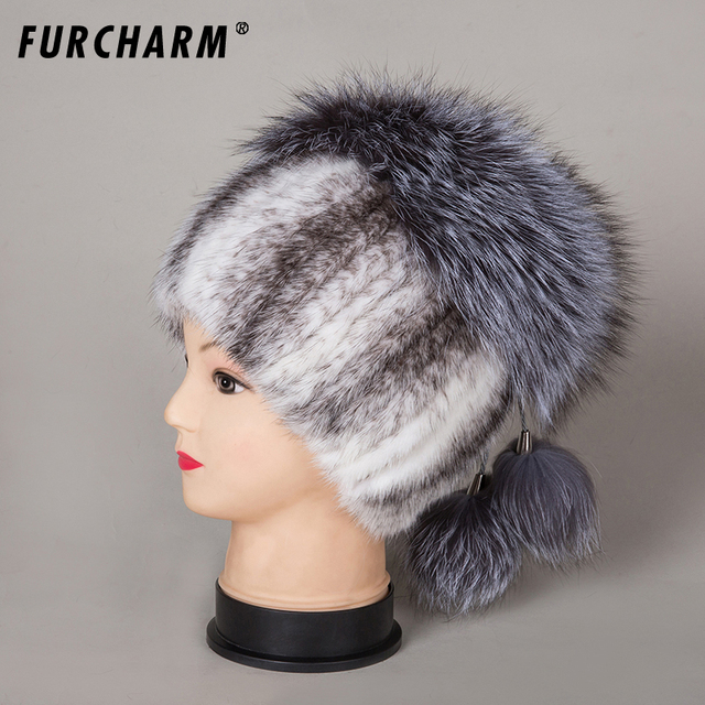 2018 winter caps mink fur hats silver fox fur beanies hat with pom pom Genuine  fur cap elastic Knitting wool beanies female cap 2e2b97accc4