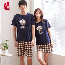 2b102bae23 Verano de las mujeres ropa de dormir redondo cuello Casual conjuntos de  pijama de algodón de manga corta Camisetas de parejas ca.