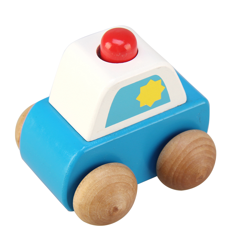 1 Pc Wooden Press Sound Vehicle Car Mini Car Kids Model Vehicles Toy Baby Kids Car Wood Educational Gift
