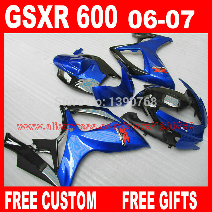 fairing kit for 06 07 SUZUKI K6 K7 GSXR 600 750 bright blue black  fairings set gsxr600 2006 GSXR750 2007 CB14 lowest price fairing kit for suzuki gsxr 600 750 k4 2004 2005 blue black fairings set gsxr600 gsxr750 04 05 eg12