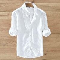 2017 Summer White Shirt Men Comfort Linen Shirts Men Long Sleeve Casual Men Shirt Brand Clothes