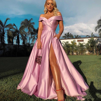 Off the Shoulder Slit Prom Dresses 2019 Cheap Simple Satin Long Evening Gowns Women Party Ball Red Carpet Dress Formal