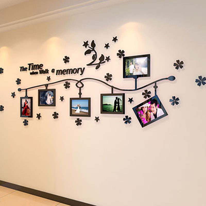 Designing On Wall: Photo Frame And Flower Design Acrylic 3D Wall Stickers DIY