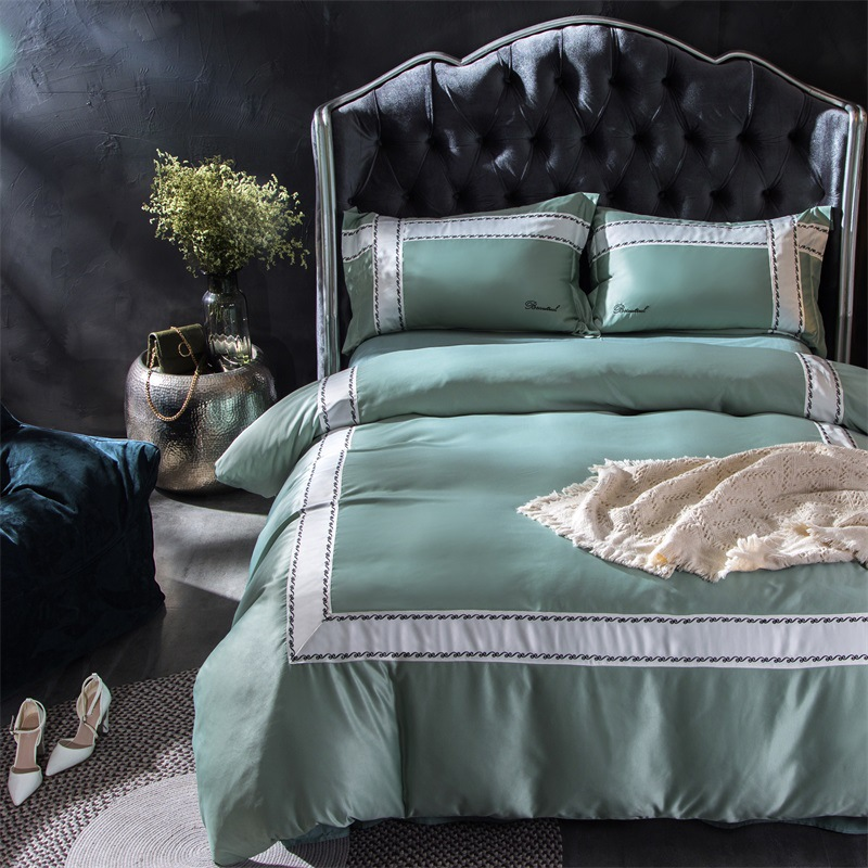 high end luxury 4pc bedding sets full queen king size duvet cover set silk cotton pillowcase bed. Black Bedroom Furniture Sets. Home Design Ideas