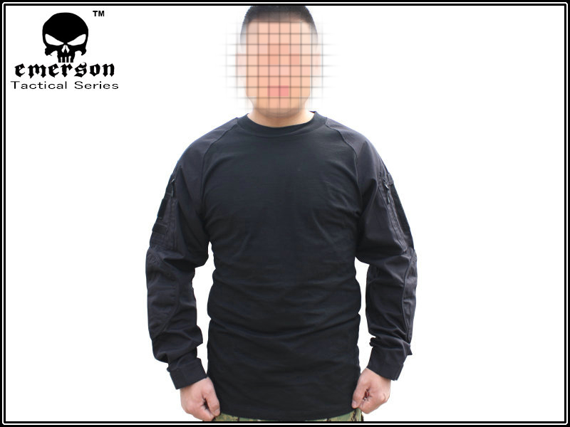c3c72d59 Emerson Combat Shirts Military Airsoft Round Collar Tactical Long Sleeve T  shirts EM8518 Black-in Hunting Ghillie Suits from Sports & Entertainment on  ...