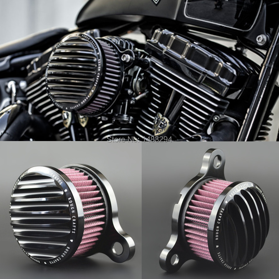 Black Aluminum Alloy Custom Rough Crafts Air Cleaner Intake Filter for HD Sportster 883 04 14