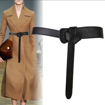 Bow design Thin PU Leather Jeans Girdles Loop strap belts