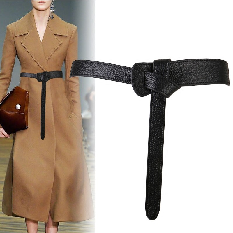Cinturón femenino de lujo para mujeres diseño de lazo rojo delgado de cuero PU Jeans fajas correa de lazo cinturones bownot marrón vestido abrigo Accesorios