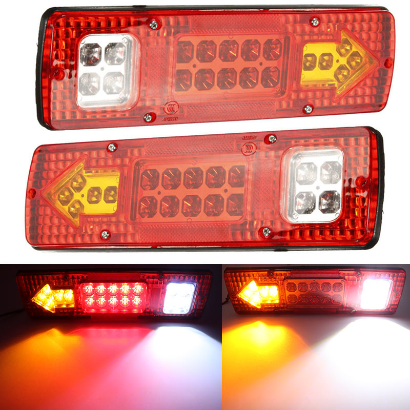 2pcs 24V Red 19 LED Truck Trailer Lorry Brake Stop Turn Rear Tail Light Indicator Trailer Lamp Taillight Car Lights