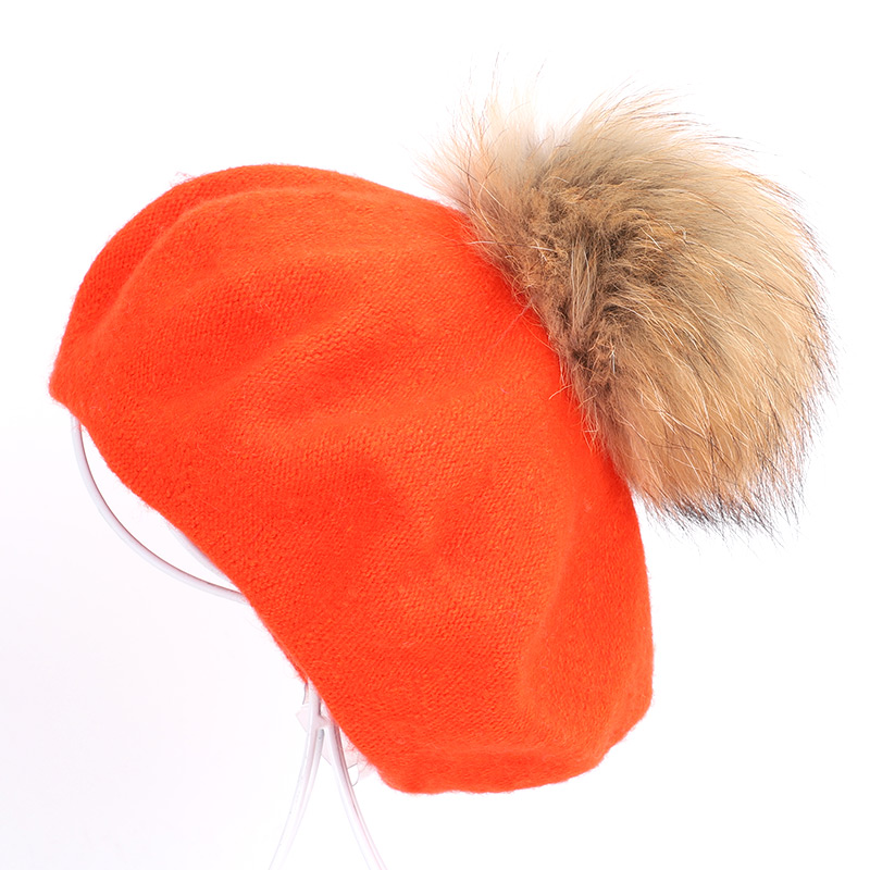 Берет художника, уличные шапки художника, осень и зима, новые теплые вязаные однотонные кепки, модный мех енота, помпон, берет в стиле винтаж - Цвет: Orange