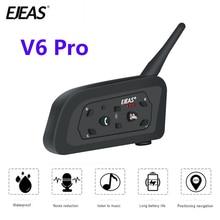 EJEAS Auricular intercomunicador V6 PRO BT para motocicleta, dispositivo de sonido con interfono, con Bluetooth, de 1200 metros, para 6 conductores