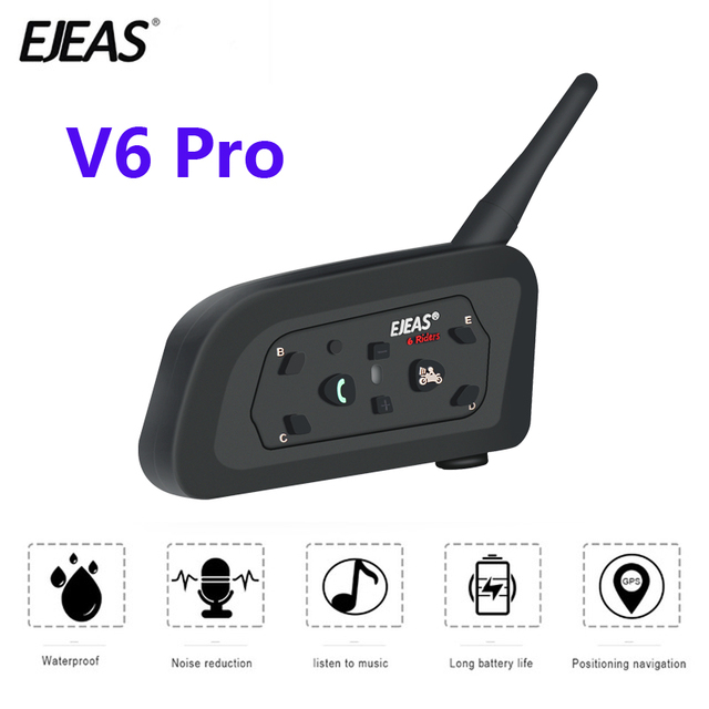 EJEAS V6 PRO Bluetooth אופנוע BT Communicator קסדת אינטרקום אוזניות עם 1200m האינטרפון 6 רוכבים