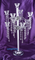 Hot selling Candelabra Matching Stick Crystal Candle Holders Candlestick Pillar colume candle Home Decor with Diamante Filled