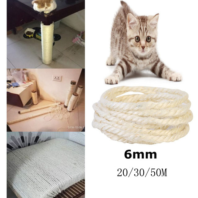 6mm Sisal Rope For Cats Scratching Post Toys Making Diy Desk Foot Stool Chair Legs Binding Rope Material For Cat Sharpen Claw 20