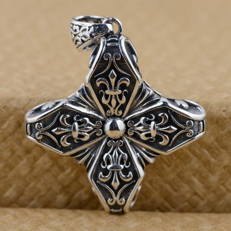 S925 Sterling Silver Pendant antique crafts cross lovers of other personality styles ...