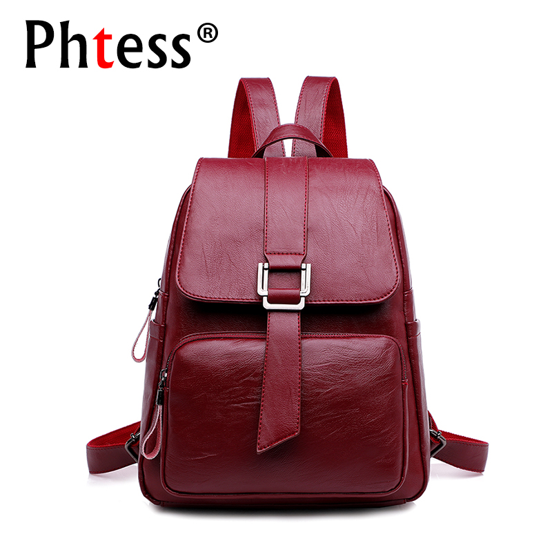 2019 women leather backpack female school solid travel bagpack sac a dos vintage high quality backpacks female back pack ladies