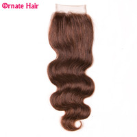 Ornate Lace closure Brazilian Body Wave Human Hair Free Part 4*4 Closure Light Brown 10 22 Inch Weave Hair Closure Non Remy