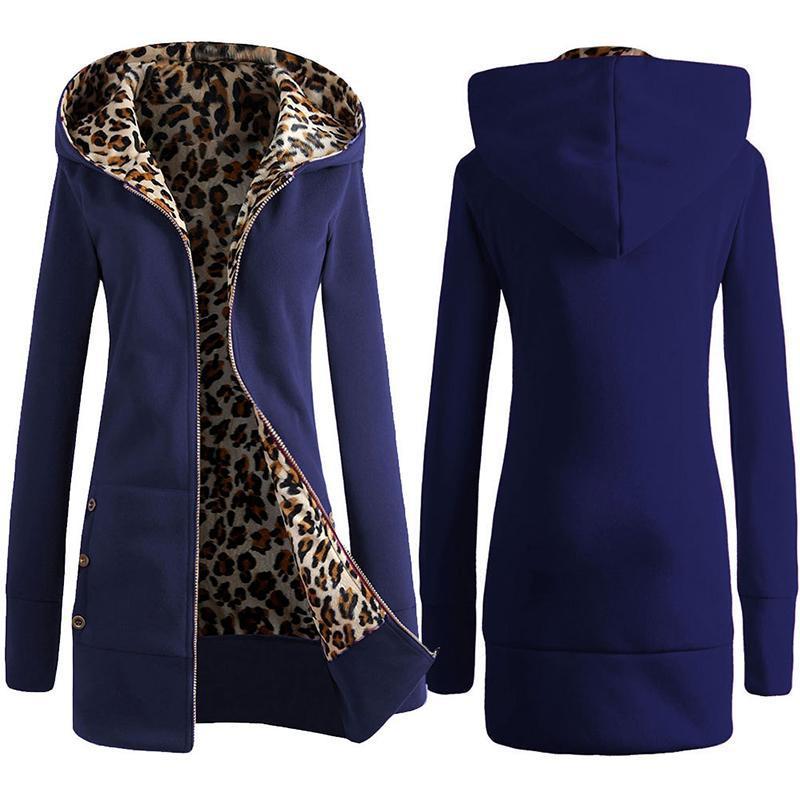 Dropshipping Women Winter Overcoat Leopard Zipper Hooded Long Sleeves Fleece Lined Slim Fit AIC88