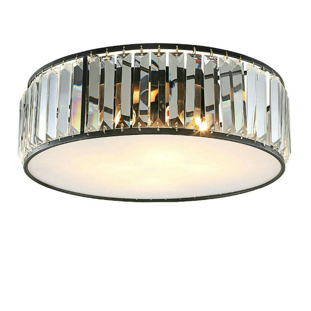 Led modern flush mount crystal ceiling lights fixtures for Living room ceiling light fixture