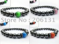 (Promotion Gifts Stocks+40 PCS 4 Mixed Colors 10 PCS/Color) Hematite Bracelet of Colored Beads 8 9''