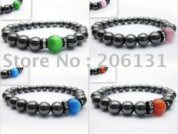 4 Mixed Colors Hematite Bracelet Nautral Stone Beads Beaded Strand Bracelet for Men and Women 40pcs