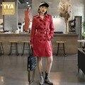 Офисный женский двубортный Тренч из натуральной кожи  пальто средней длины из овчины  большие размеры