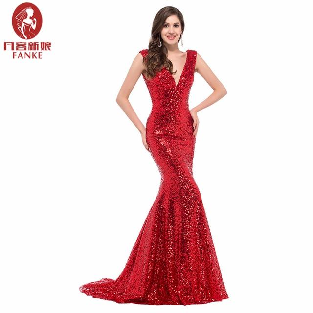 Cheap Long Red Sequin evening dresses 2016 robe de soiree longue vestido de  noche Sexy Trumpet mermaid gown Gold formal Dresses 21cb1e951b5a
